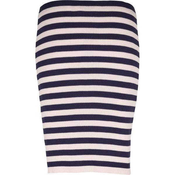 Basic Apparel Blue Pink Striped Pencil Skirt