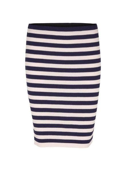 Basic Apparel Blue Pink Striped Pencil Skirt