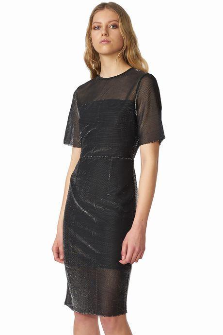 POP COPENHAGEN  Black Silver Dress With Openback