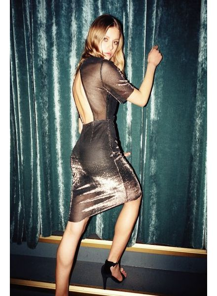 POP COPENHAGEN  Black Silver Dress With Openback
