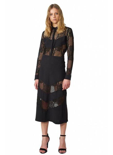 POP COPENHAGEN  Black Midi Skirt With Lace