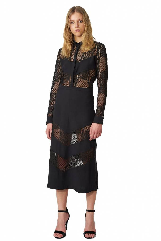 POP COPENHAGEN  Black Midi Skirt With Lace