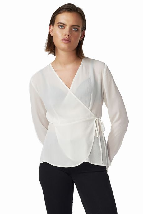 POP COPENHAGEN  White Chiffon Wrap Top