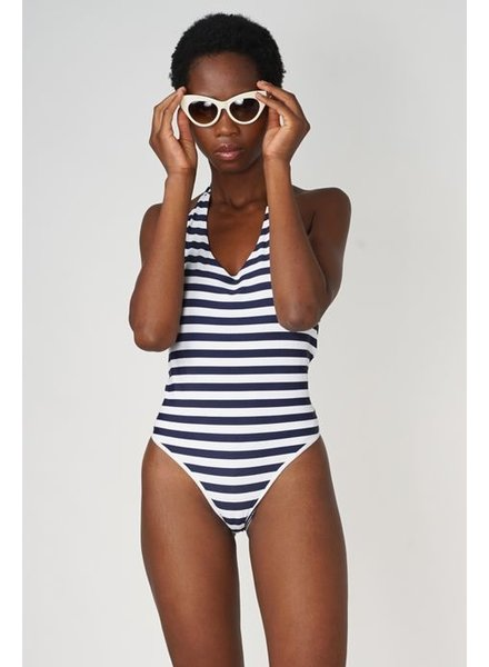 POP COPENHAGEN  Bleu & White Stiped Bathingsuit With Open Back