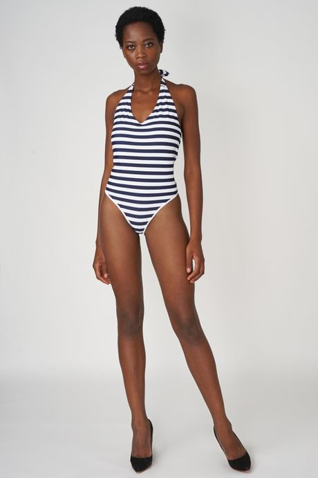 POP COPENHAGEN  Bleu & White Stiped Bathingsuit With Open Back
