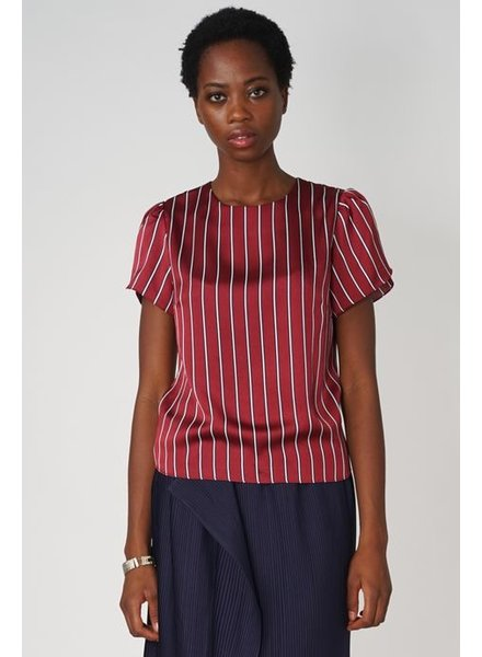 POP COPENHAGEN  Red Striped Petal Sleeve Top