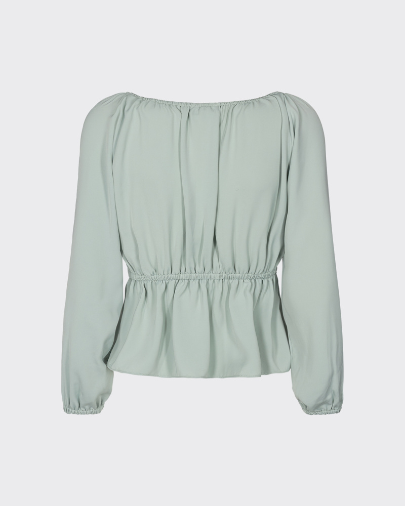 Moves by minimum TALLAS LONG SLEEVED BLOUSE - MINT GREEN