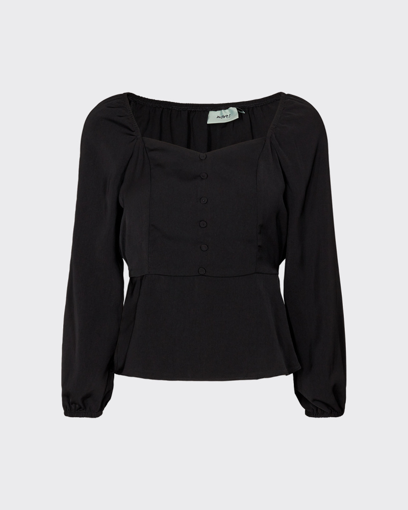 Moves by minimum TALLAS LONG SLEEVED BLOUSE - BLACK
