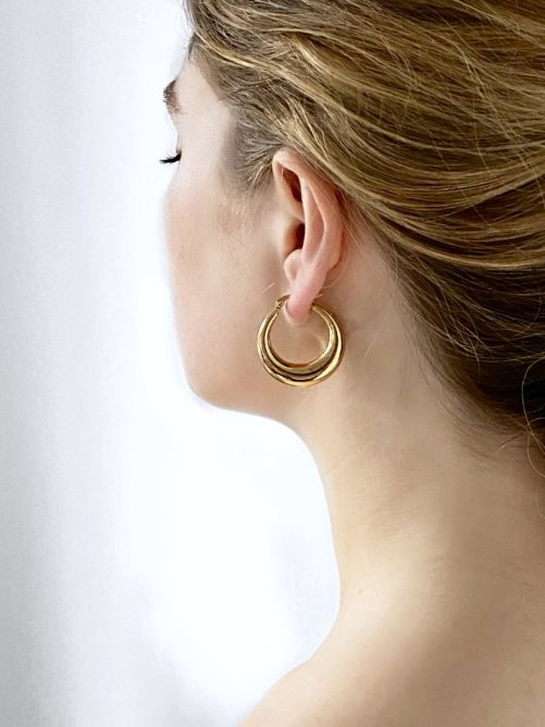 "Ellen Beekmans  GOLDEN ""MOON"" EARRINGS"
