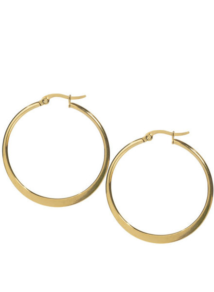 Ellen Beekmans  FLAT HOOP EARRINGS GOLD-PLATED (5CM)