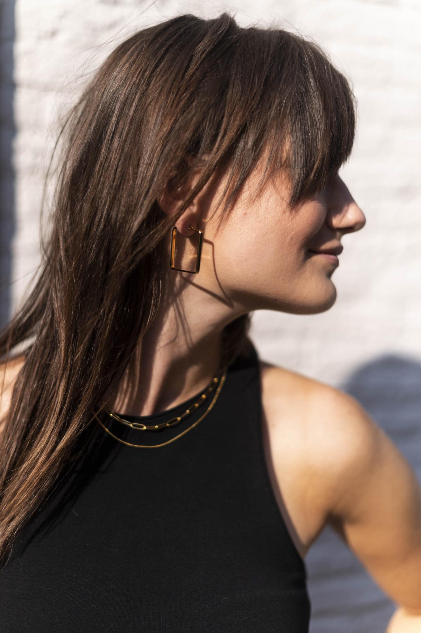 Ellen Beekmans  HOOP EARRINGS SQUARE (3.5CM)