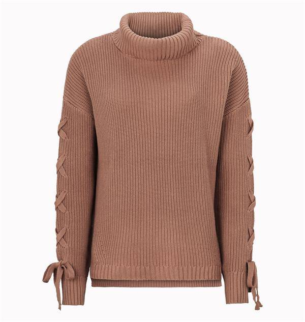 SoftRebels Dusty Mocca Rollneck Knit Sweater