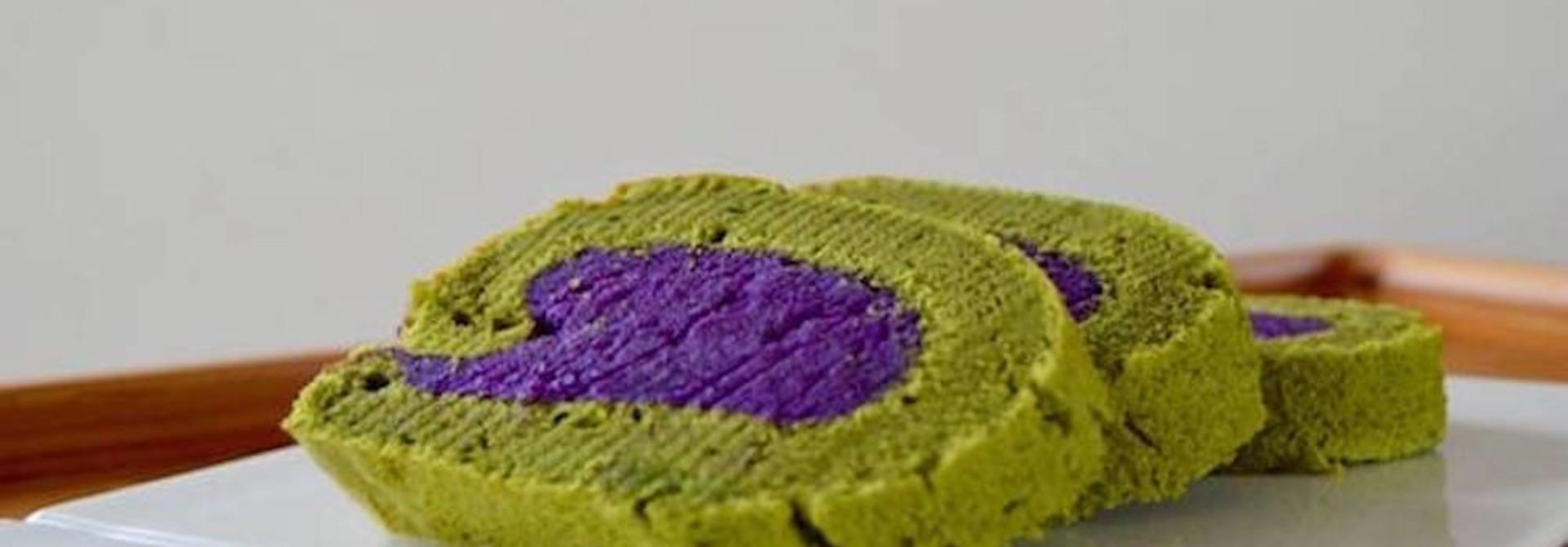 Matcha cakerol met paarse zoete aardappel