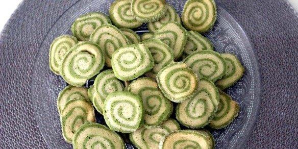 Matcha-vanille swirl koekjes