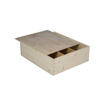 Luxe 3-vaks houten geschenkkistje, met schuifdeksel