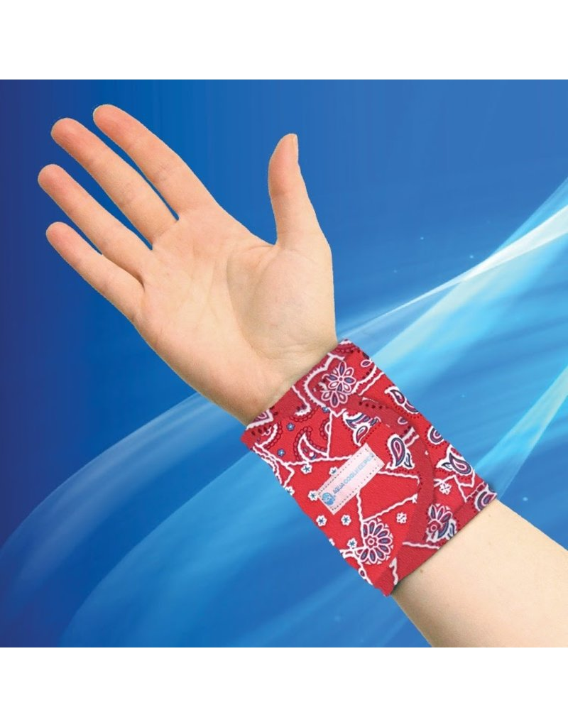 Aqua Coolkeeper Cooling Wristband Red Western