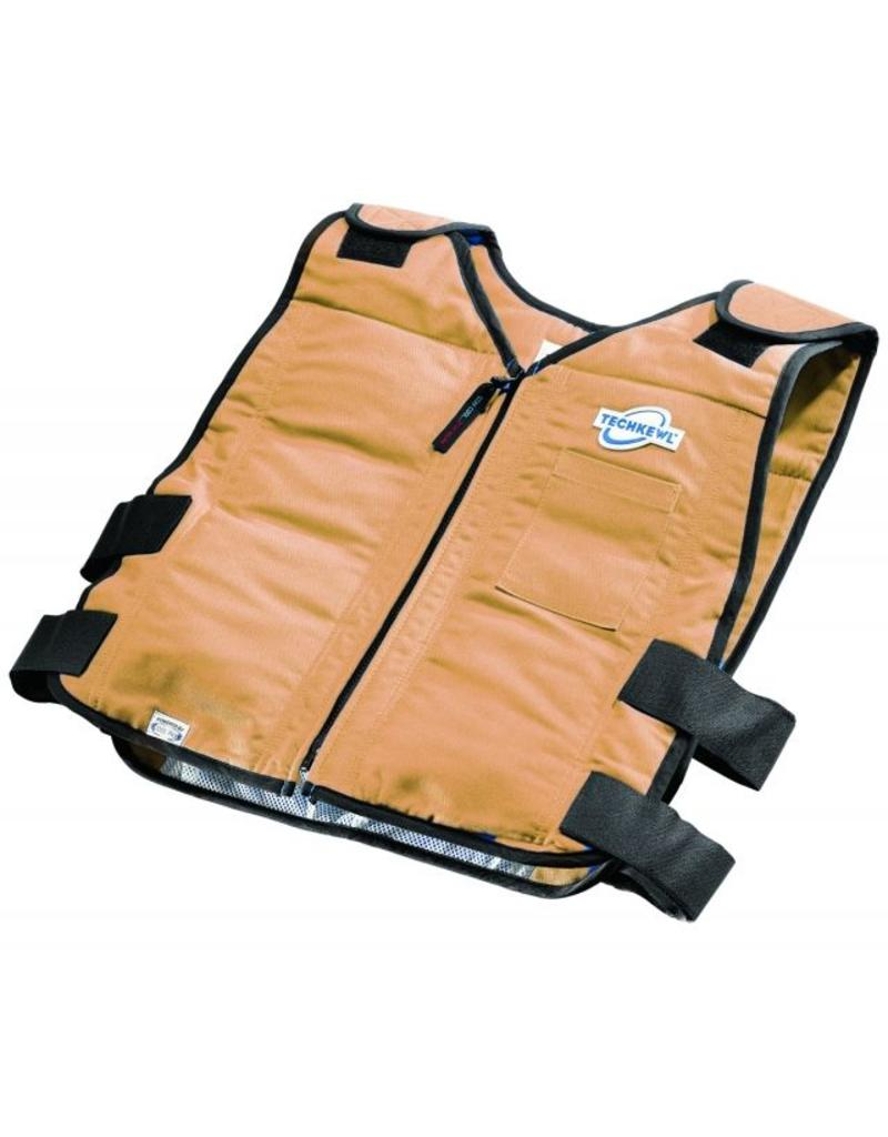 TechKewl Cooling Vest Front Zipper Khaki