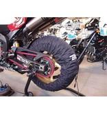 Bandenwarmers voor 120 mm voorband en 180 tot 200 mm achterband.