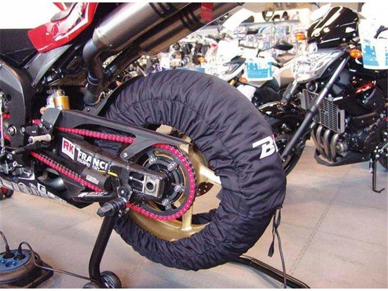 Programmeerbare bandenwarmers voor 120 mm voorband en 180 tot 200 mm achterband.
