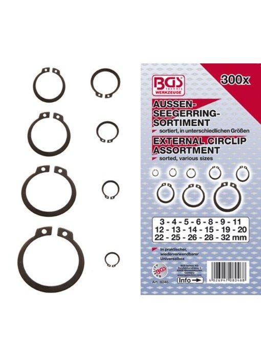 BGS Circlips seegering extern 3-32 mm 300 stuks