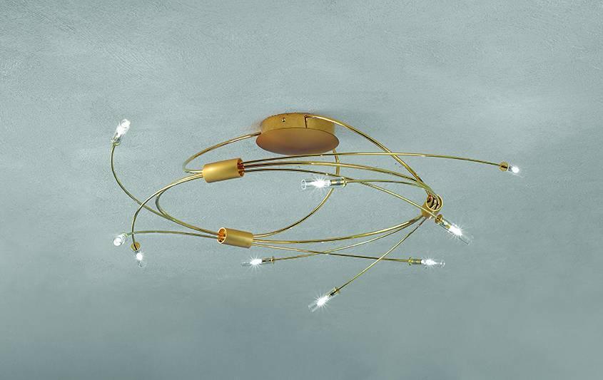 Escale Deckenleuchte Spin, 9-flammig, 60 cm Durchmesser, matt-glänzend vergoldet