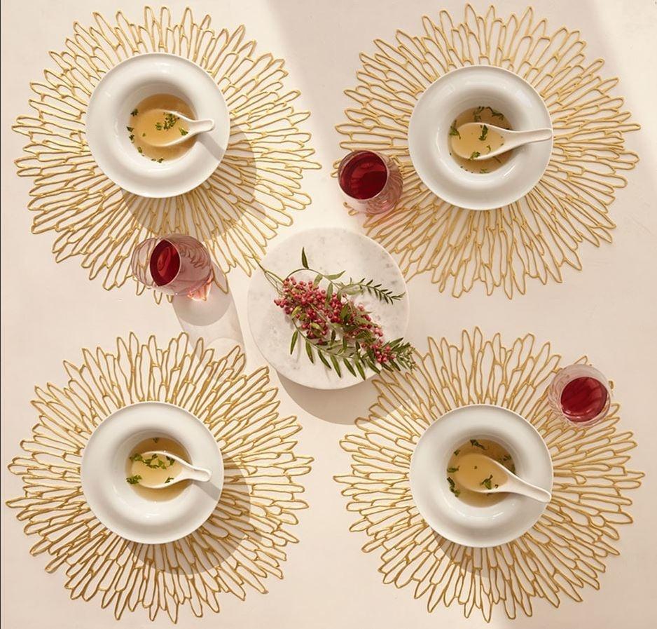 chilewich Tischset Bloom vergoldet und rund