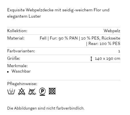 fine Webpelzplaid Saas-Fee 140x190cm in 170 silber