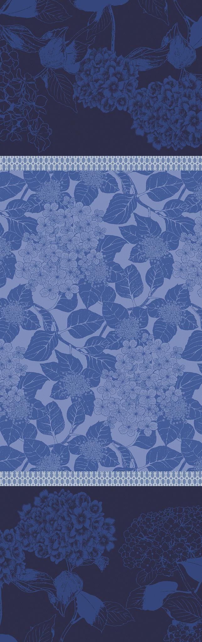 Garnier Thiebaut Tischläufer Hortensias bleu coton bio 175x55cm