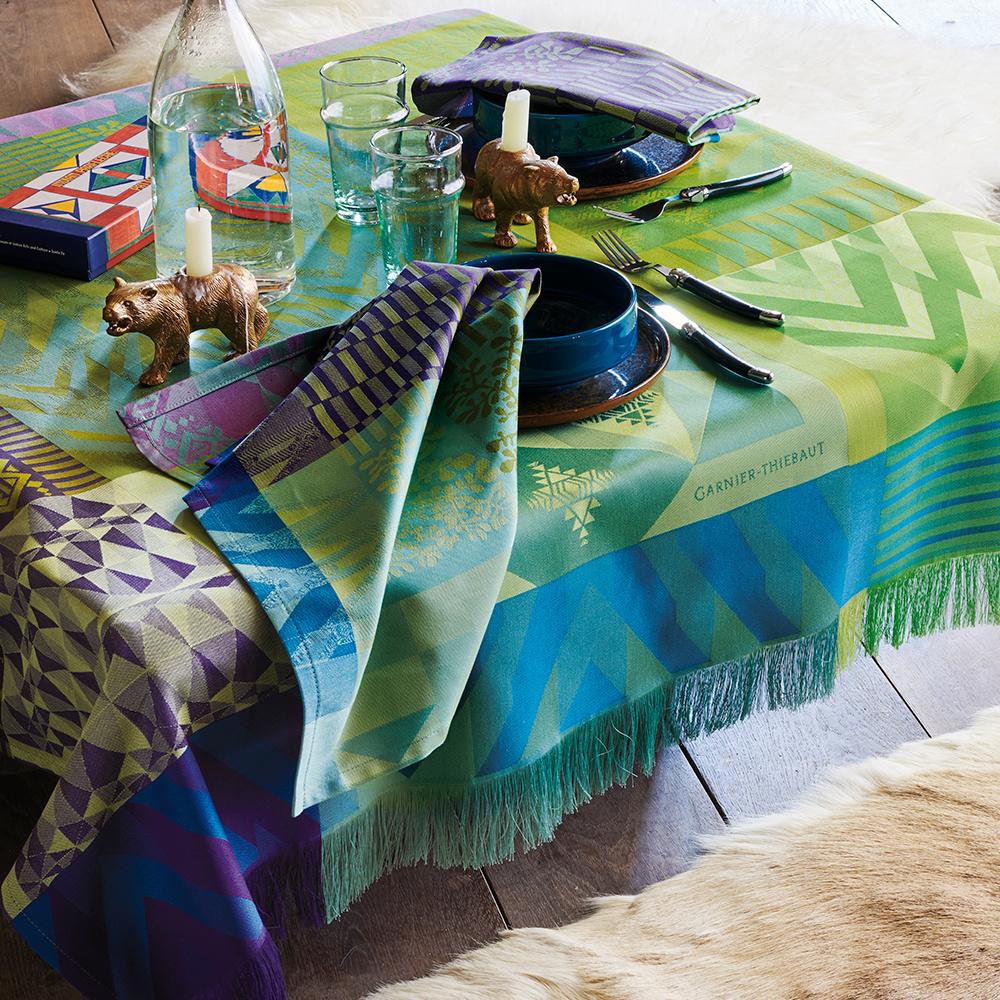 Garnier Thiebaut Tischdecke Santa Fe Vert 155x265cm