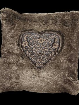 fine Kissenbezug Sweetheart, braun, Größe 45/45 cm