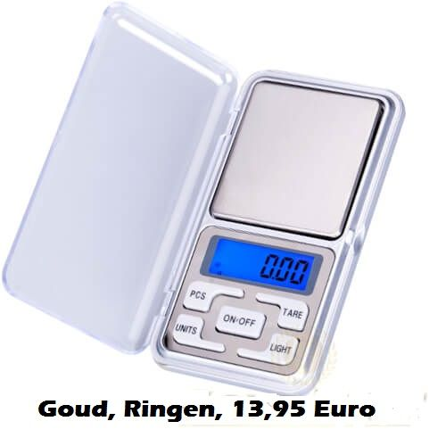 Weegschaaltje 0,01 tot 200 gr. munten kruiden goud zilver