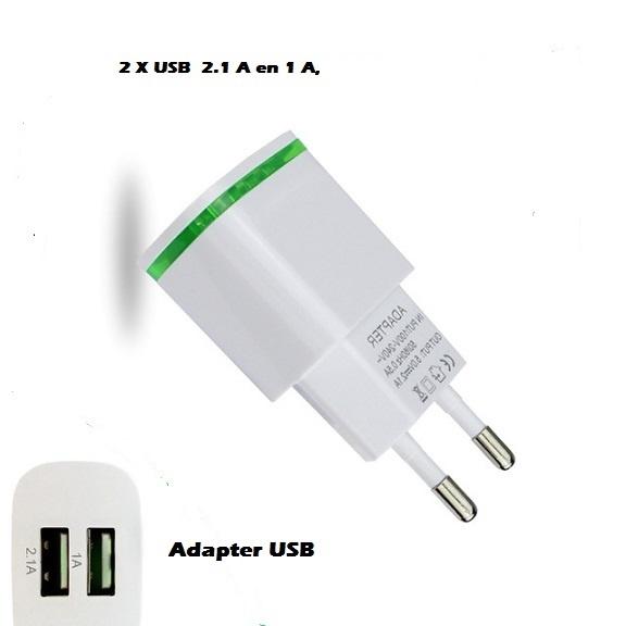 Oplaad adapter Oplaad adapter USB 2 poorten 2.1 A en 1 Aampère. - Copy