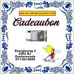 Zuid Holland Metaaldetectors Cadeaubon 5 euro
