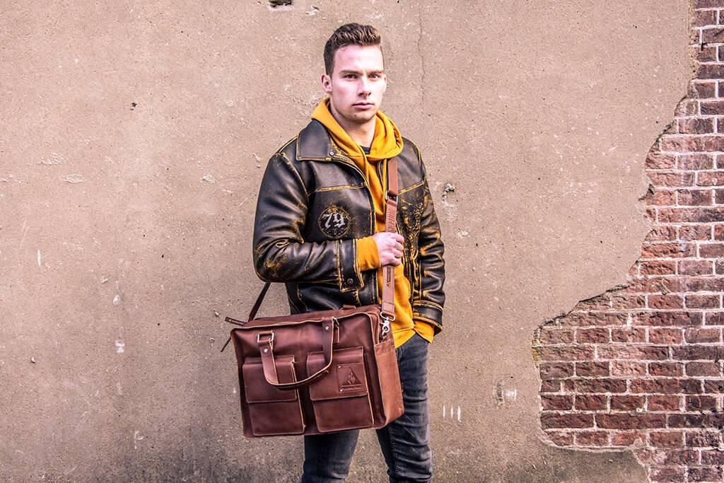 Orange Fire Shawn ruime werk & laptoptas