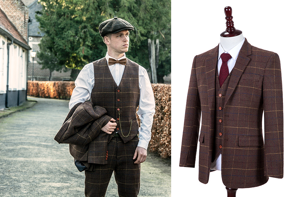 Shelby Brothers collection by Orange Fire Brown Overcheck Twill tweed 3-delig pak
