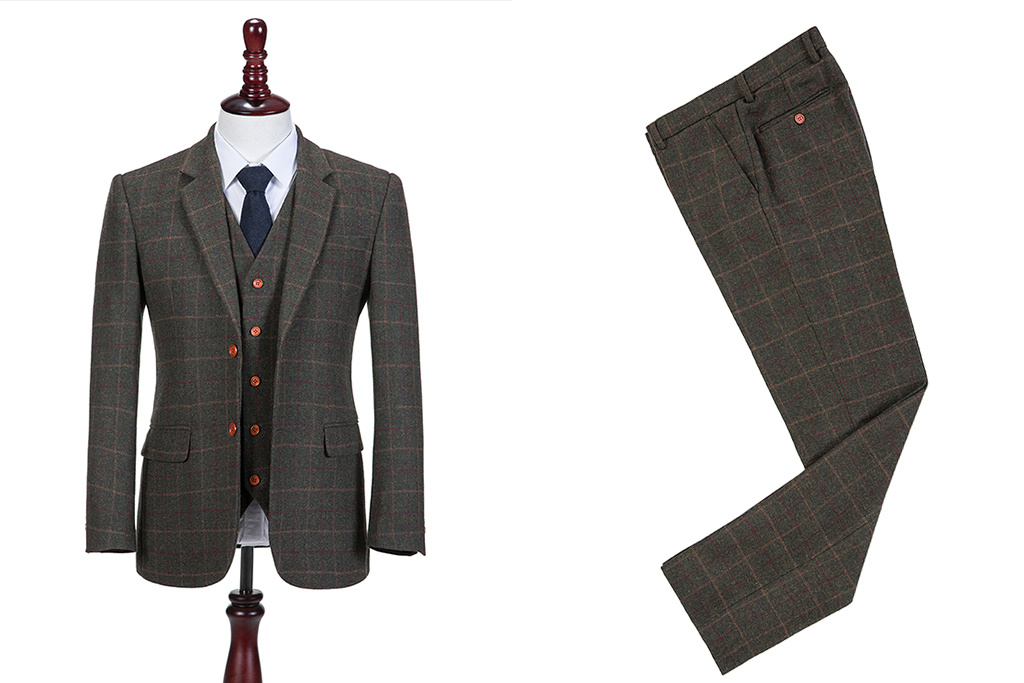 Shelby Brothers collection by Orange Fire 3-delig tweed pak Dark Green Tattersall