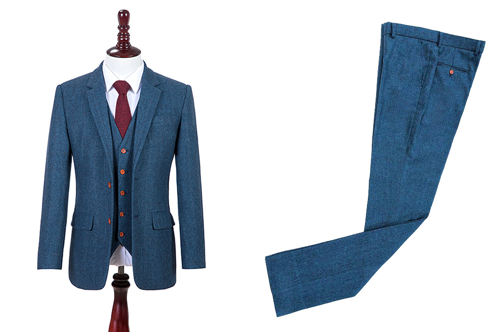 Shelby Brothers collection by Orange Fire 3-delig tweed pak Blue Estate Herringbone