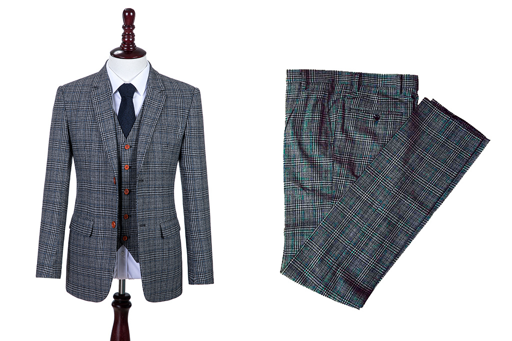 Shelby Brothers collection by Orange Fire 3-delig tweed pak Retro Grey Blue Plaid