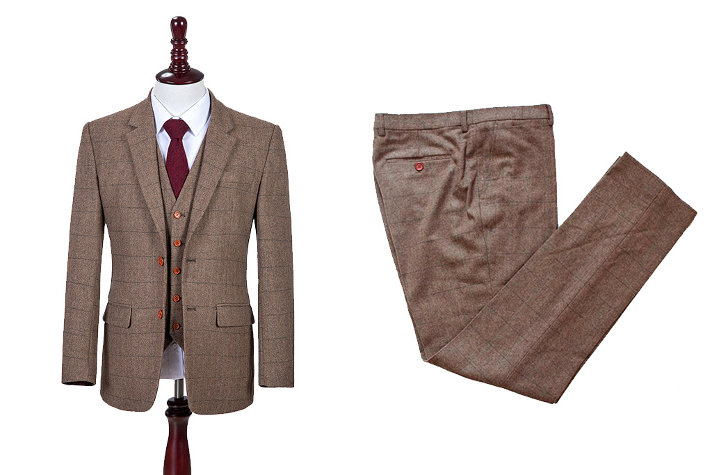 Shelby Brothers collection by Orange Fire 3-delig tweed pak Traditional Brown Estate Herringbone