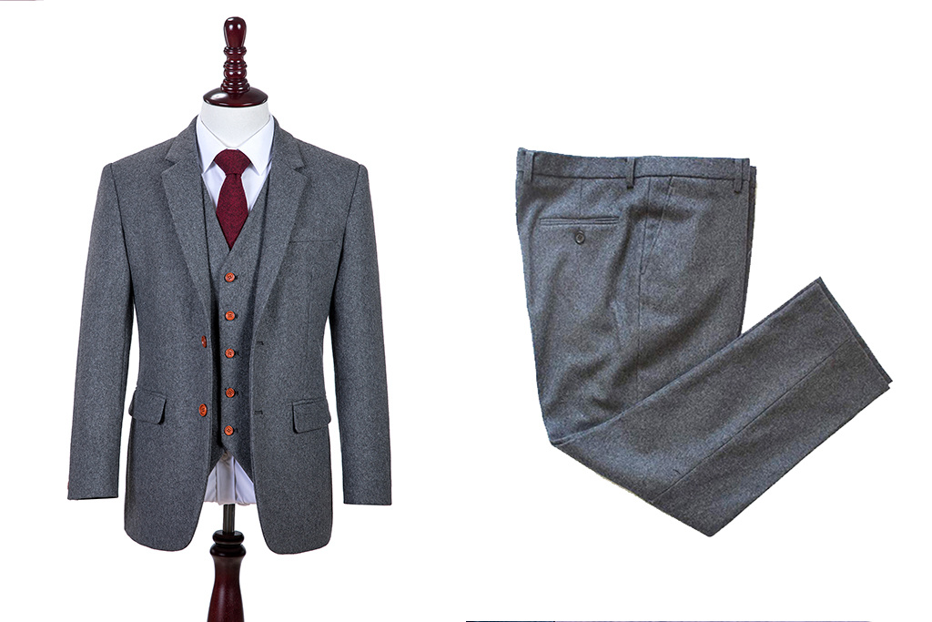 Shelby Brothers collection by Orange Fire Grey Twill 3-delig tweed pak