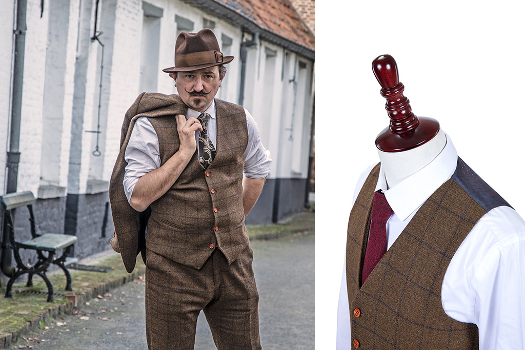 Shelby Brothers collection by Orange Fire 3-delig tweed pak Country Brown Windowpane