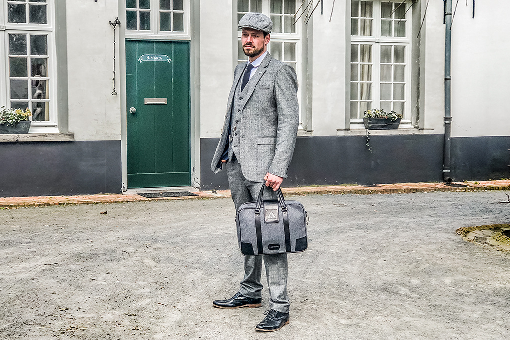Shelby Brothers collection by Orange Fire 3-delig tweed pak Grey Blue Prince of Wales