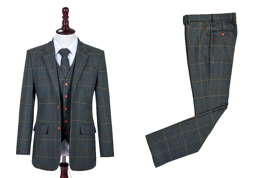 Shelby Brothers collection by Orange Fire 3-delig tweed pak Dark Green Overcheck Twill