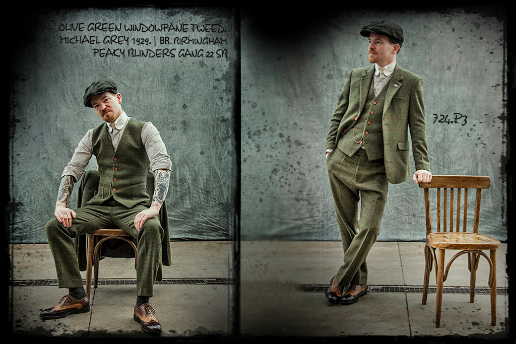 Shelby Brothers collection by Orange Fire 3-delig tweed pak Olive Green Windowpane