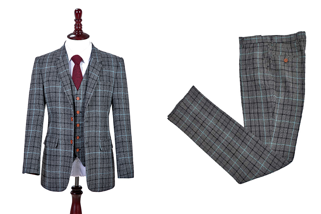 Shelby Brothers collection by Orange Fire Grey Sky Blue Houndstooth Tweed 3-delig pak