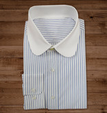 Shelby Brothers collection by Orange Fire Beaumont penny collar overhemd  white-blue-stripe -stud