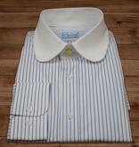 Revival Beaumont penny collar overhemd  white-blue-stripe -stud