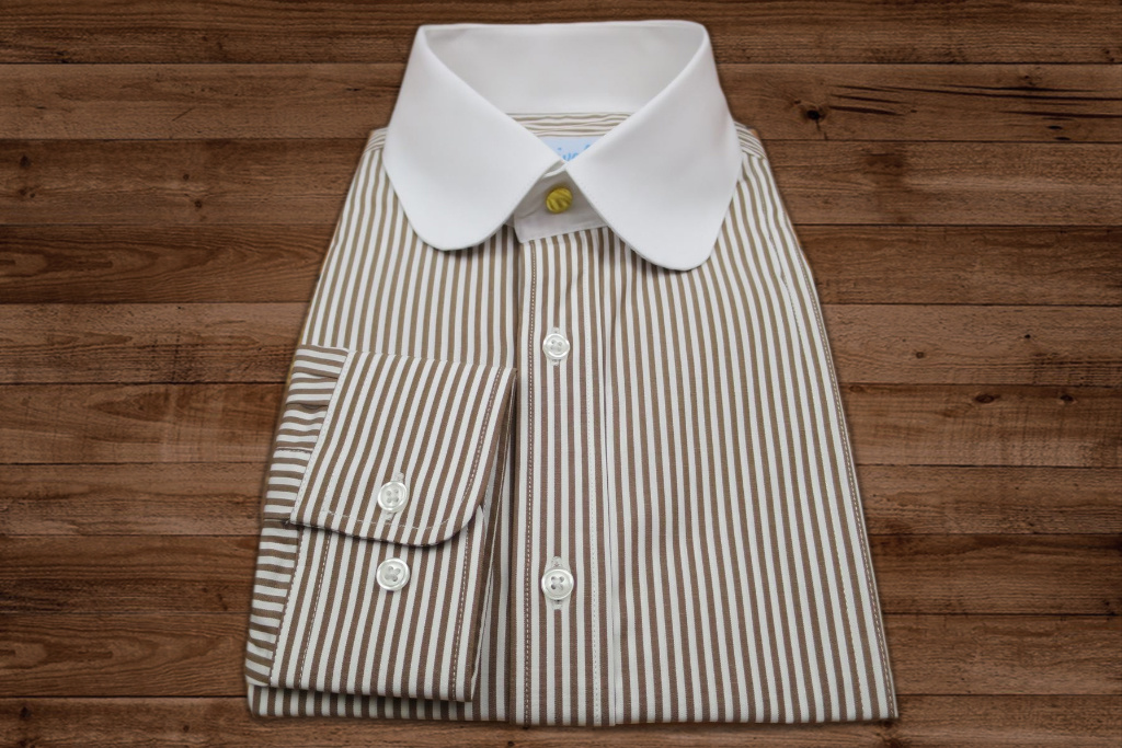 Shelby Brothers collection by Orange Fire Beaumont penny collar overhemd  brown-stripe -stud