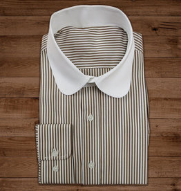 Revival Beaumont penny collar overhemd cedar-stripe -stud