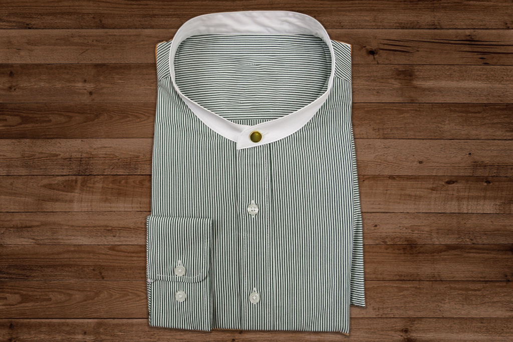 Revival 1920 Authentic Green Stripe Collarless overhemd - stud
